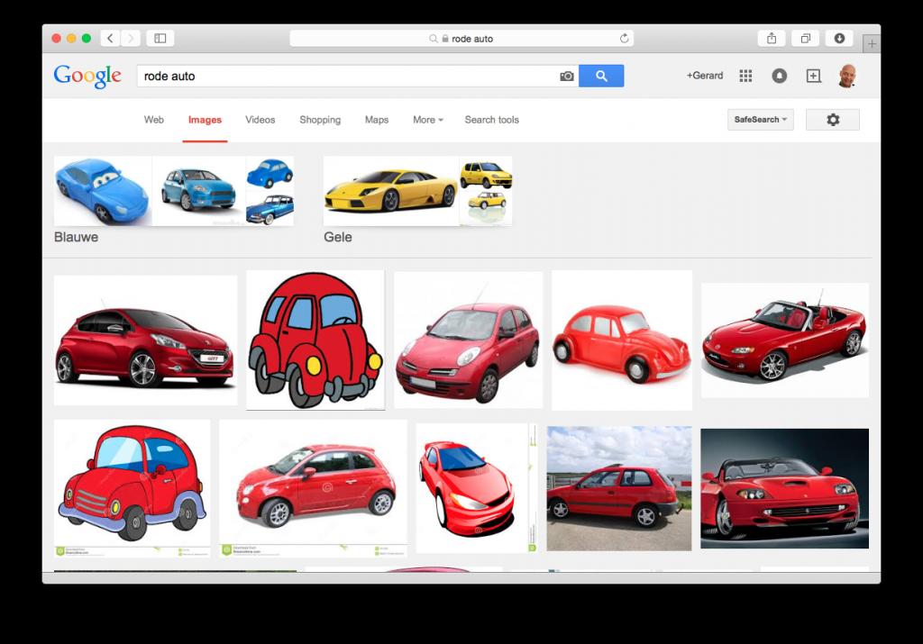 Google vind rode auto's
