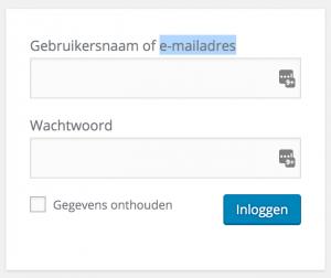 Wordpress 4.5 - voortaan inloggen met email adres