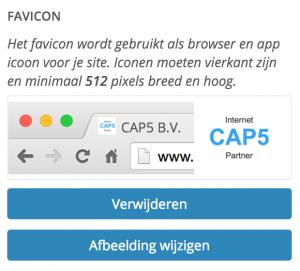 wordpress 4.5 Een favicon uploaden en bekijken