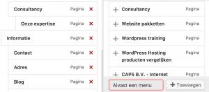 Wordpress 4.7 menu item toevoegen