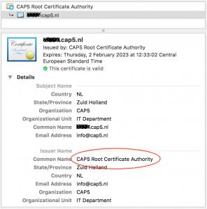CAP5 Self Signed SSL certificaat voor intern gebruik