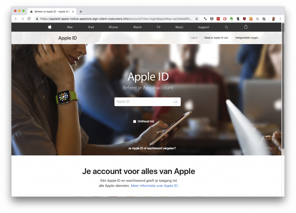Apple phising website