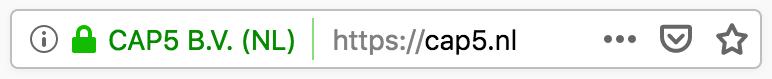 SSL EV Certificaat adresbalk voorbeeld