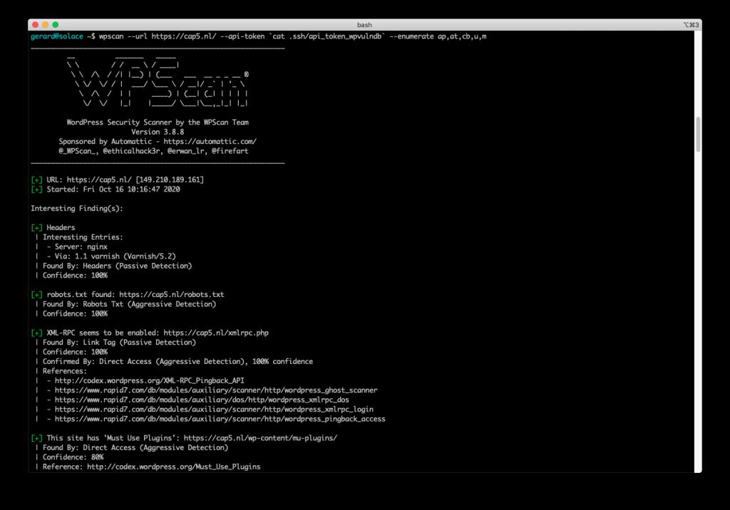 CAP5 wpscan terminal report