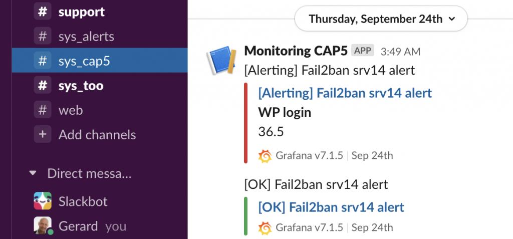 Grafana monitoring alert on Slack